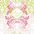 Vetorial Stock : Pink and green abstract floral invitation