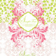Stock vektor: Pink and green abstract floral invitation
