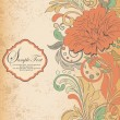 Vintage invitation card with abstract floral background — Imagen vectorial