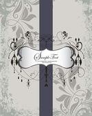 Wedding Invitation. Elegant Gray Purple Floral Card — Stock Vector