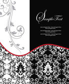 Röda eleganta damast bröllopsinbjudan — Stockvektor