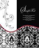 Red elegant damask wedding invitation — Stock Vector
