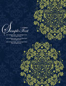 Navy and Lime Floral Wedding Invitations — Stock vektor