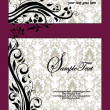 Purple Swirls Frame Wedding Invitation - Image vectorielle