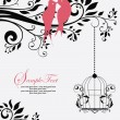 Cтоковый вектор: Love Birds Sitting In Tree Wedding Invitation
