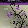 Invitation floral card with purple flowers - Stockvectorbeeld