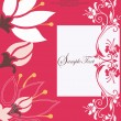 Abstract red floral card - Stockvectorbeeld