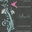 Floral invitation card with bird - Image vectorielle