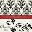 FLORAL DAMASK INVITATION CARD - Image vectorielle