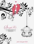 Love Birds Sitting In a Tree Wedding Invitation — Stok Vektör