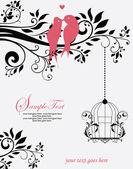 愛の鳥が木の結婚式の招待状に座っています。 — ストックベクタ