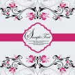 Floral invitation with pink flowers — Imagen vectorial