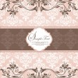 Pink vintage damask invitation card — Vector de stock #20560233