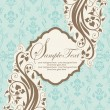 Blue floral invitation card with place for text — Imagen vectorial