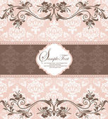 Pink vintage damask invitation card — Vettoriale Stock