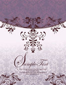 Purple floral damask invitation card — Stock Vector