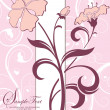 Pink floral invitation card - Stockvectorbeeld
