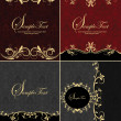 Set of four damask invitation card — Stockvektor