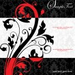 Red and black floral invitation card — Imagen vectorial