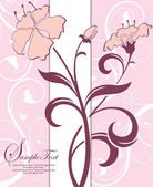 Pink floral invitation card — Stock Vector