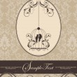 Stockvector : Brown vintage invitation card with birdcage