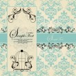Vintage blue damask invitation card — Stock Vector #22073623