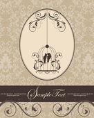 鳥かごと茶色のヴィンテージの招待カード — ストックベクタ