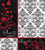 Elegant damask wedding invitation — Vecteur