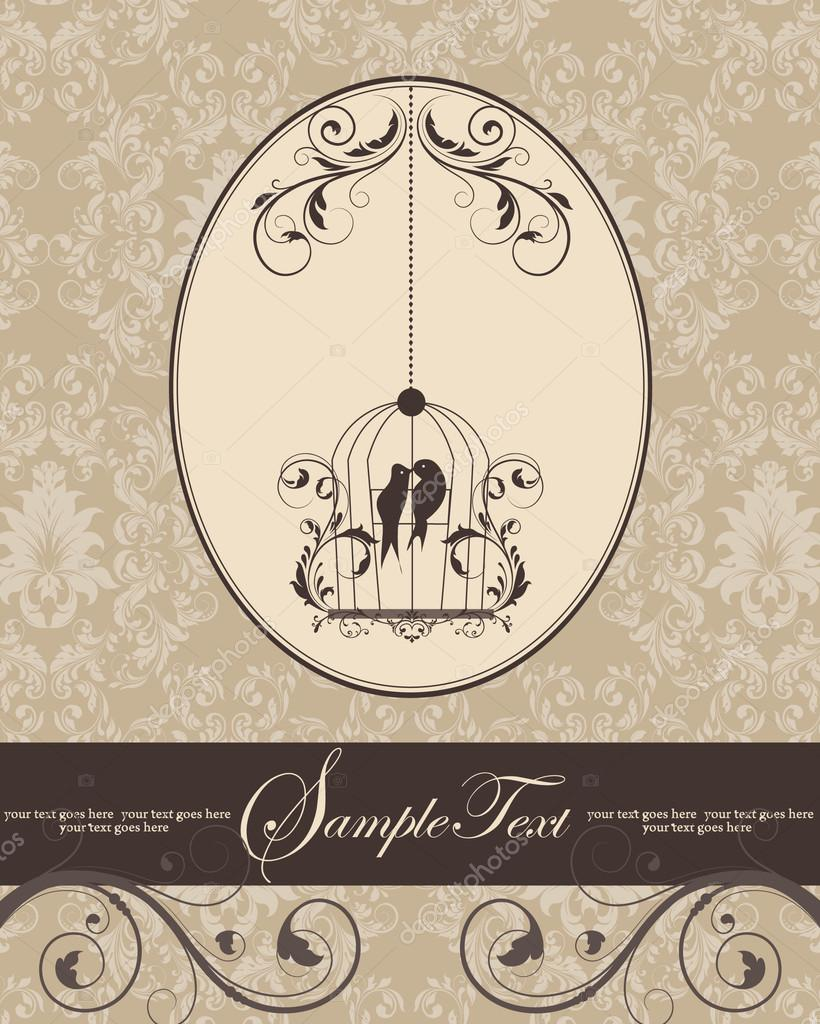 Brown vintage invitation card with birdcage — Stock Vector ...