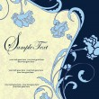 Blue floral invitation card with place for text - Imagen vectorial