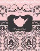Bröllop kort eller inbjudan med abstrakt floral bakgrund — Stockvektor