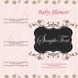 Stock Vector: New baby girl announcement card