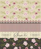 Vintage floral uitnodigingskaart — Stockvector