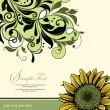 Vintage Elegant Sunflower Wedding Invitation — Imagen vectorial
