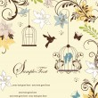 Vintage birdcage wedding invitation card — Stok Vektör