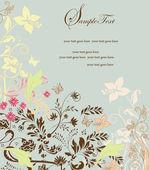 花飾りの招待ビンテージ カード — ストックベクタ