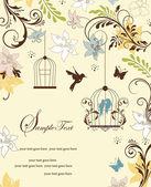 винтаж птичья клетка свадебная пригласительная открытка — Cтоковый вектор