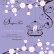 Purple swirly invitation card with cage — Imagens vectoriais em stock