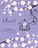Carta di invito swirly viola con gabbia — Vettoriale Stock