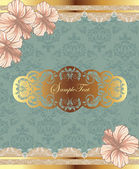 Damask vintage card with pink flowers — Stock Vector