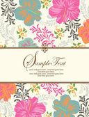 Convite ou cartão de casamento com floral abstrato — Vetor de Stock