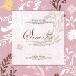 Pink floral abstract invitation card — Stock Vector