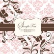Pink vintage damask invitation card — Stock Vector #33177329