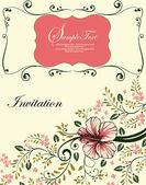 Carte d'invitation floral avec une branche d'arbre — Vecteur