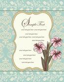 Elegant vintage damask floral invitation card — Stock Vector