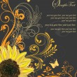 Vintage Elegant Sunflower Wedding Invitation — Stock Vector