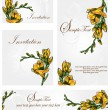 Set of four floral invitation card — Stock Vector #33639097