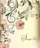 Dört çiçek davetiye kartı dizi — Stok Vektör