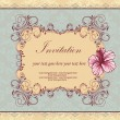 Set of four floral invitation card — Stockvektor