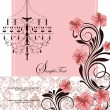 Floral invitation card with pink flowers — ストックベクタ